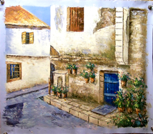 STREET SCENE HOUSE WITH BLUE DOOR medium large OIL PAINTING