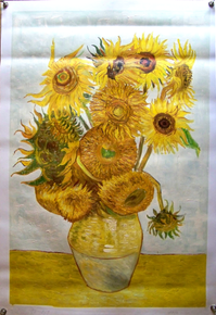 SUNFLOWERS IN VASE OIL PAINTING