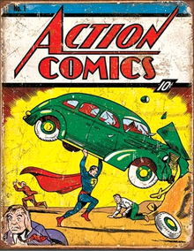 SUPERMAN ACTION COMIC NO.1 SUPER HERO SIGN