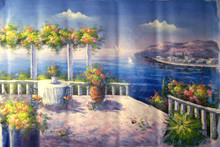 TABLE BY TRELLACE WITH VIEW OF SEA medium large OIL PAINTING