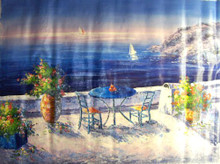 TABLE FOR TWO BY SEA large OIL PAINTING