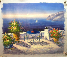 TABLE FOR TWO BY THE SEA medium OIL PAINTING