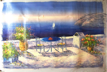 TABLE FOR TWO BY THE SEA medium large OIL PAINTING