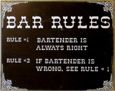 Photo of BAR RULES RUSTY METAL SIGN TO MAKE IT LOOK OLD