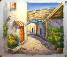 THE SIDE STREETS W/FLOWERS OIL PAINTING