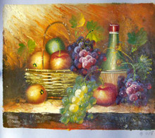 Photo of BASKET APPLES, WINE AND GRAPES SM. OIL PAINTING