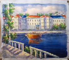 TOWN BY CANALS medium OIL PAINTING
