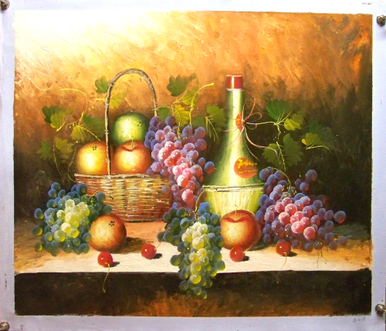 Photo of BASKET OF APPLES, WINE & GRAPES MED.  OIL PAINTING