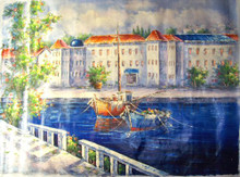 TOWN BY CANALS large OIL PAINTING