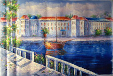 TOWN BY CANALS medium large OIL PAINTING