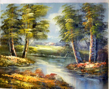 TREES BY CREEK smallest OIL PAINTING