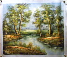 TREES BY THE CREEK medium OIL PAINTING
