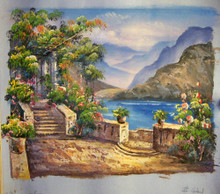 TRELLACE AND STAIRS TO SEA OIL PAINTING