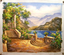 TRELLACE AND STAIRS TO WATER OIL PAINTING
