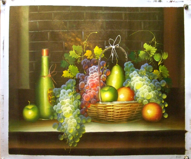 Photo of BASKET OF FRUIT & WINE BOTTLE MEDIUM  OIL PAINTING