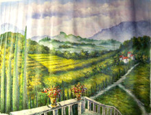 VIEW OF FIELDS FROM TERRACE large OIL PAINTING