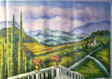 VIEW OF FIELDS FROM TERRACE medium large OIL PAINTING