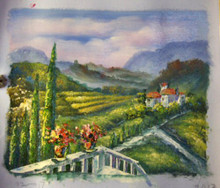 VIEW OF FIELDS FROM TERRACE smallest OIL PAINTING