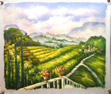 VIEW OF FIELDS & VINYARDS FROM TERRACE medium OIL PAINTING
