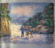 WALKING THE MULE small OIL PAINTING