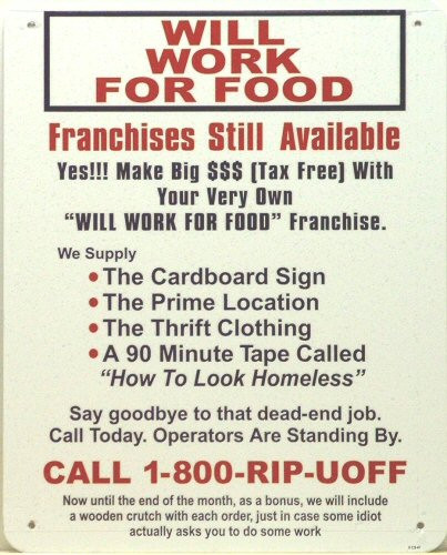 WILL WORK FOR FOOD SIGN - Old Time Signs