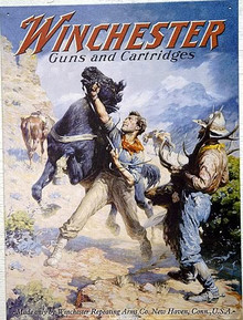 Photo of WIN. SPOOKED HORSE POSTER, METAL SIGN SHOWS HOW RUGGED THE MEN OF THE OLD WEST WERE