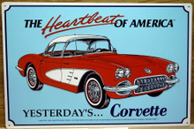 "METAL Sign Size: 17 1/2"" w x 12"" h, WITH HOLES IN EACH CORNER FOR EASY MOUNTING COLORFUL AND DETAILED, THIS SIGN MAKES A GREAT ADDITION FOR THE CORVETTE ENTHUSIAST COLLECTION"