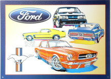 "Sign Size: 17 3/8"" w X 12 1/2"" h  WITH PRE-DRILLED HOLES FOR EASY MOUNTING FORD MUSTANG, COLLAGE, GREAT CARS, GREAT COLORS, SUPER GRAPHICS A MUST FOR ANY COLLECTION"