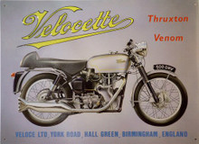 "METAL Sign Size: 16 1/4"" w X 12 1/2"" h  WITH PRE-DRILLED HOLES FOR EASY MOUNTING THIS  VELOCHETE MOTORCYCLE SIGN HAS GREAT GRAPHICS AND COLORS Photo of VELOCHETTE"