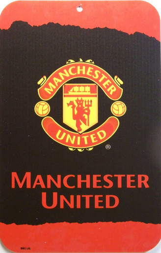"""MANCHESTER UNITED SOCCER SIGN,  HEAVY DUTY, DURABLE PLASTIC 10 3/4"""" X 16 1/2""""  WITH PRE-DRILLED HOLE FOR EASY MOUNTING GREAT COLORS AND GRAPHICS, A SUPER ADDITION TO ANY AVID MANCHESTER UNITED FAN'S COLLECTION"""
