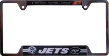 "METAL LICENSE PLATE FRAME 12 1/4"" W X 6 1/4"" H X 1/4"" D  WITH PRE-DRILLED HOLES FOR EASY MOUNTING  A GREAT ADDITION TO ANY NEW YORK JETS FOOTBALL FAN'S COLLECTION, SUPER COLORS AND GRAPHICS"