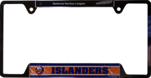 "METAL LICENSE PLATE FRAME 12 1/4"" W X 6 1/4"" H X 1/4"" D  WITH PRE-DRILLED HOLES FOR EASY MOUNTING  A GREAT ADDITION TO ANY NEW YORK ISLANDERS FAN'S COLLECTION, SUPER COLORS AND GRAPHICS"