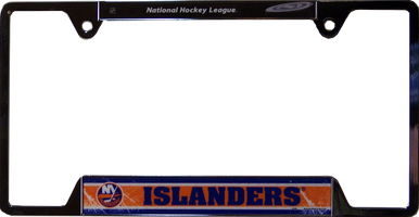 """METAL LICENSE PLATE FRAME 12 1/4"""" W X 6 1/4"""" H X 1/4"""" D  WITH PRE-DRILLED HOLES FOR EASY MOUNTING  A GREAT ADDITION TO ANY NEW YORK ISLANDERS FAN'S COLLECTION, SUPER COLORS AND GRAPHICS"""