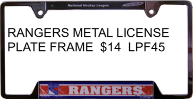 "METAL LICENSE PLATE FRAME 12 1/4"" W X 6 1/4"" H X 1/4"" D  WITH PRE-DRILLED HOLES FOR EASY MOUNTING  A GREAT ADDITION TO ANY NEW YORK RANGERS HOCKEY FAN'S COLLECTION, SUPER COLORS AND GRAPHICS"