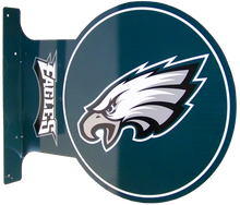 "READY TO HANG ON WALL, LOGO VIEWABLE FROM BOTH SIDED,  13 1/2"" H X 17 1/2"" L   (FLANGE MEASURES 13 1/2"" X 2"") with holes for easy mounting  A SUPER ADDITION FOR ANY AVID PHILADELPHIA EAGLES FOOTBAL FAN'S COLLECTION, GREAT COLORS AND GRAPHICS"