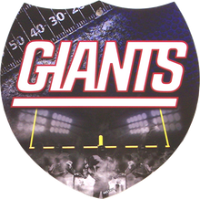 """SMALL PLASTIC DIE CUT INTERSTATE SHAPE FOOTBALL SIGN,  APOX 8"""" X 8""""  with holes for easy mounting  A SUPER ADDITION TO ANY NEW YORK GIANTS FOOTBALL FAN'S COLLECTION, GREAT GRAPHICS AND COLOR"""