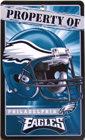 "DURABLE PLASTIC FOOTBALL SIGN, 7 1/4"" w X 12"" h  with hole(s) for easy display  GREAT SIGN FOR A PHILADELPHIA EAGLES FAN'S COLLECTION. EXCELLENT COLOR AND GRAPHICS"