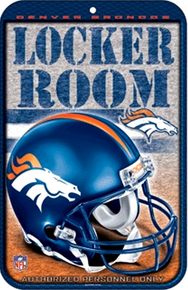 "METAL FOOTBALL SIGN 10 3/4"" w X 16 1/2"" h    WITHHOLE(S) FOR EASY MOUNTING  GREAT ADDITION TO ANY DENVER BRONCOS COLLECTION.  COLORFUL AND GREATLY DETAILEDHEAVY DUTY PLASTIC FOOTBALL SIGN"