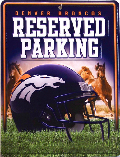 "METAL FOOTBALL SIGN   8  1/2"" w X 11"" h  WITH HOLE(S) FOR EASY MOUNTING  GREAT ADDITION TO ANY DENVER BRONCOS COLLECTION.  COLORFUL AND GREATLY DETAILED"