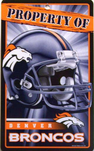 """DURABLE PLASTIC FOOTBALL SIGN 7 1/4"""" w X 12"""" h WITH HOLE(S) FOR EASY MOUNTING  GREAT SIGN FOR A DENVER BROCONS FAN'S COLLECTION, VERY COLORFUL AND DETAILS"""
