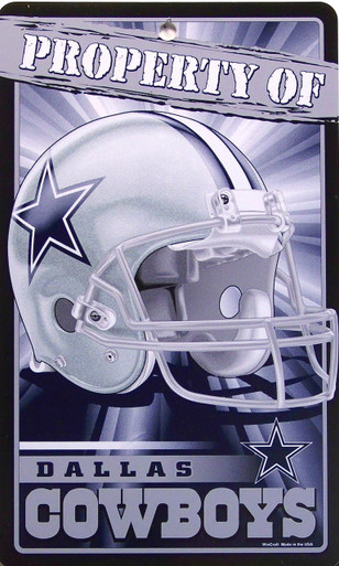 """DURABLE PLASTIC FOOTBALL SIGN,  7  1/4"""" w X 12"""" h WITH HOLE(S) FOR EASY MOUNTING  GREAT SIGN FOR THE DALLAS COWBOY FOOTBALL FAN'S COLLECTION, THIS SIGN HAS GREAT COLOR AND DETAILS"""