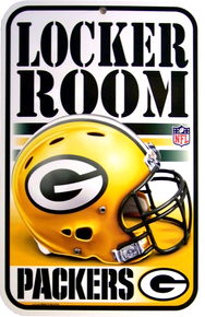 "HEAVY DUTY DURABLE PLASTIC FOOTBALL SIGN, 10 3/4"" w X 16 1/2"" h  GREAT FOR THE COLLECTION OF THE GREEN BAY PACKER FAN, VERY COLORFUL WITH GREAT ATTENTION TO DETAL"