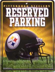 SMALL, COLORFUL PITTSBURGH STEELERS FAN PARKING ONLY SIGN GREAT ADDITION FOR WHEREVER THE FAN PARKS