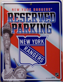 "METAL HOCKEY SIGN 8 1/2"" w X 11"" h  WITH HOLE(S) FOR EASY MOUNTING  GREAT COLOR AND GRAPHICS FOR THE RANGERS FAN'S COLLECTION"