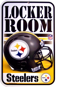 "HEAVY DUTY DURABLE PLASTIC FOOTBALL SIGN   10 3/4"" w X 16 1/2"" h  GREAT SIGN FOR THE PITTSBURGH STEERERS FANS, GREAT COLOR AND DETAILS"
