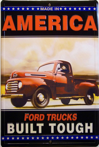 """METAL SIGN EMBOSSED 12"""" W X 18"""" H  FOR THE BUILT TOUGH FORD FAN, GREAT COLORS AND DETAIL"""