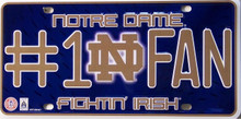 "EMBOSSED METAL LICENSE PLATE 12"" W X 6 "" H FOR THE NOTRE DAME FAN, GREAT COLORS AND DETAIL"