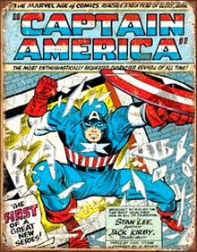 "METAL SIGNS 12 1/2"" W X 16"" H with holes in each corner for easy mounting  CAPTAIN AMERICA WITH EXPLOSIVE COLORS AND GRAPHICS MAKES THIS A MUST HAVE FOR YOUR COLLECTION"