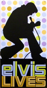 "METAL SIGN 8 1/2"" W X 16"" H, with holes in each corner for easy mounting.  CLASSIC ELVIS SIGN, GREAT COLORS AND GRAPHICS TO REMEMBER THE KING, LAST ONE, THIS SIGN IS OUT OF PRODUCTION"