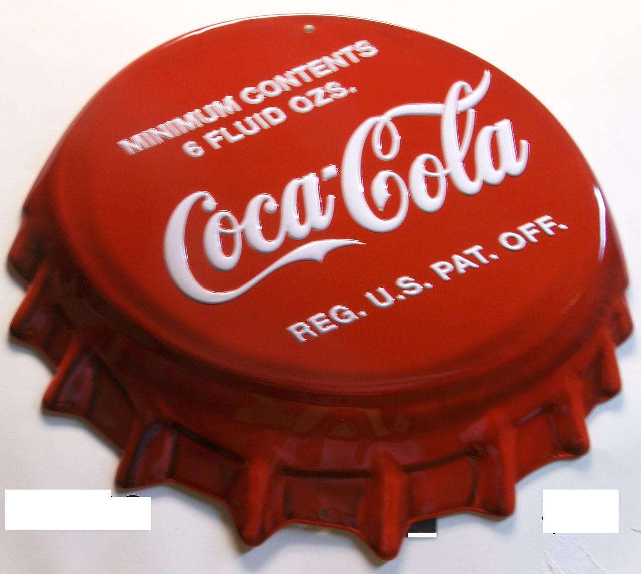 ee51913e678d COKE RETRO COCA-COLA DIE-CUT, EMBOSSED BOTTLE CAP TIN SIGN